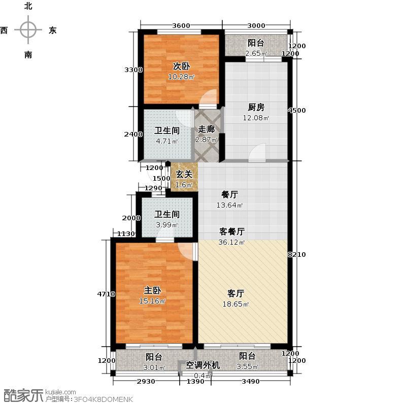 馨领域二室二厅二卫户型