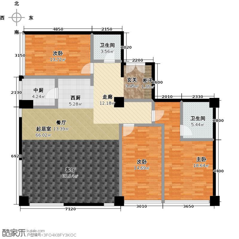 桐城国际177.26㎡(F区)4、5号楼B三室两厅两卫户型