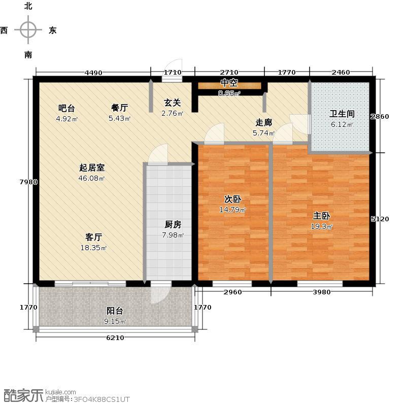 学院路商务楼116.00㎡1号楼A户型二室二厅一卫户型