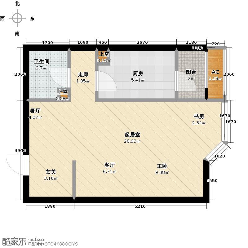时代国际嘉园商业楼商业56.33㎡3号楼5单元E4-F户型一居户型