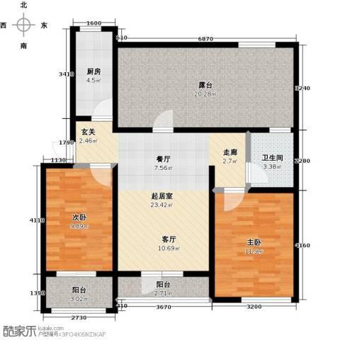 翡翠华府2室0厅1卫1厨89.89㎡户型图