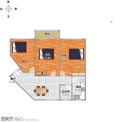 朝晖四区3室1厅1卫1厨112.00㎡户型图