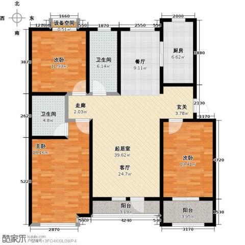 翡翠华府3室0厅2卫1厨122.34㎡户型图