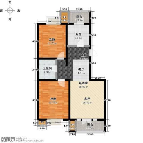 华城领秀三期2室0厅1卫1厨103.00㎡户型图
