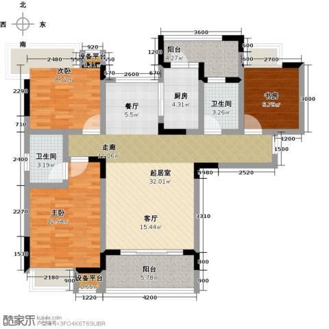朵力尚美国际(一期)3室0厅2卫1厨92.00㎡户型图