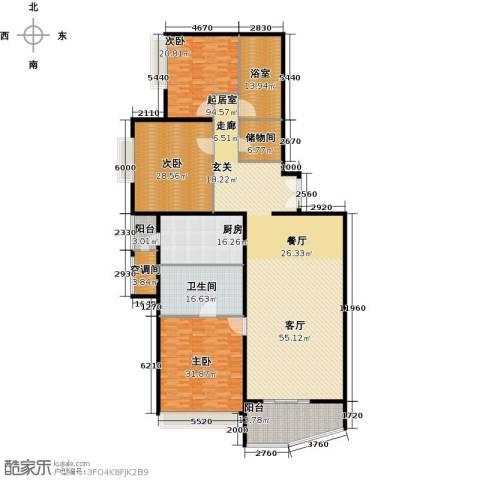 海晟国际公寓3室0厅1卫1厨272.00㎡户型图