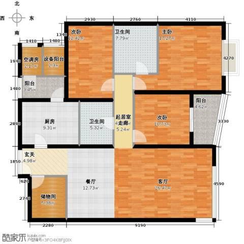 海晟国际公寓3室0厅2卫1厨146.00㎡户型图
