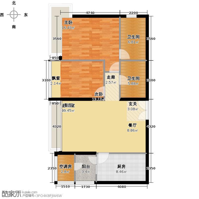 海晟国际公寓96.00㎡D1户型