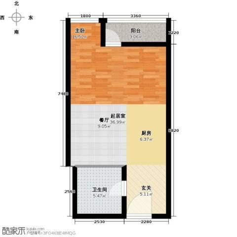 元嘉国际公寓(钛度)1卫0厨51.00㎡户型图