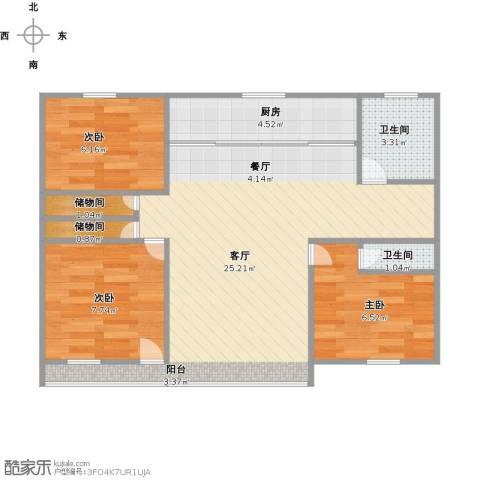 清泰小区3室1厅2卫1厨62.32㎡户型图