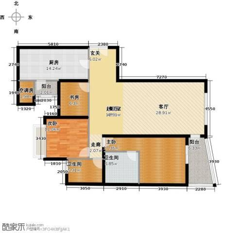 海晟国际公寓3室0厅2卫1厨135.00㎡户型图