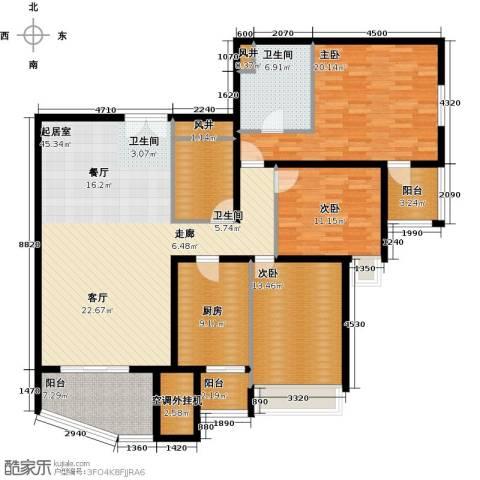 海晟国际公寓3室0厅2卫1厨145.00㎡户型图