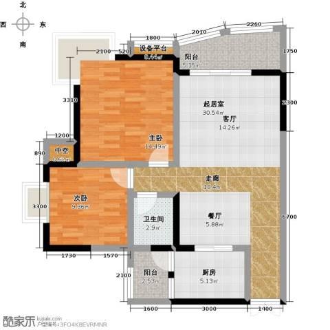 华宇・西城丽景(一期)2室0厅1卫1厨71.18㎡户型图