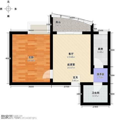 昌福・盛景郦城一期1室0厅1卫1厨40.65㎡户型图