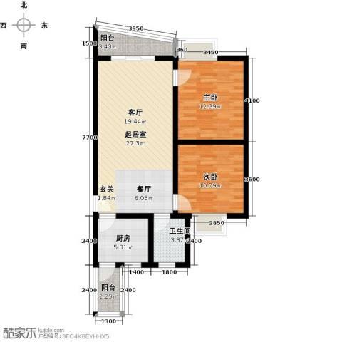 昌福・盛景郦城一期2室0厅1卫1厨72.00㎡户型图