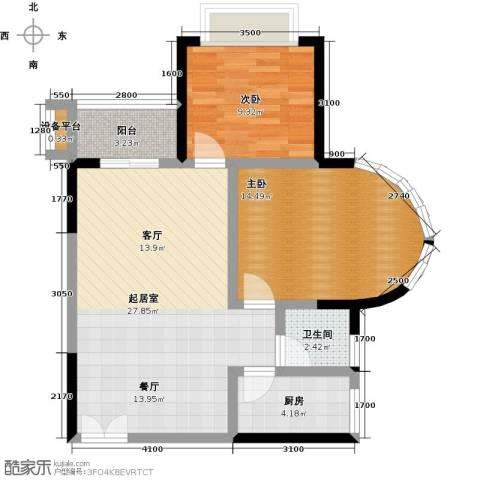 华宇・西城丽景(一期)2室0厅1卫1厨64.00㎡户型图