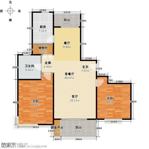 秀康新城康桥月苑2室1厅1卫1厨132.00㎡户型图