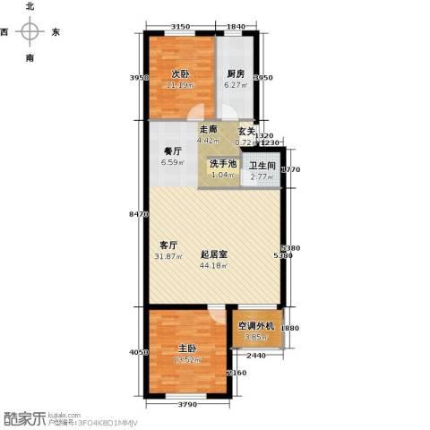 望京利泽家园2室0厅1卫1厨92.00㎡户型图