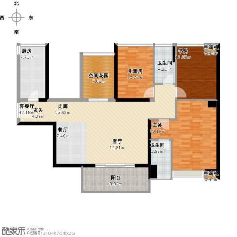 紫园3室1厅2卫1厨165.00㎡户型图