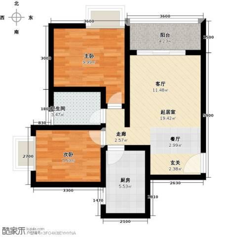 昌福・盛景郦城一期2室0厅1卫1厨50.16㎡户型图