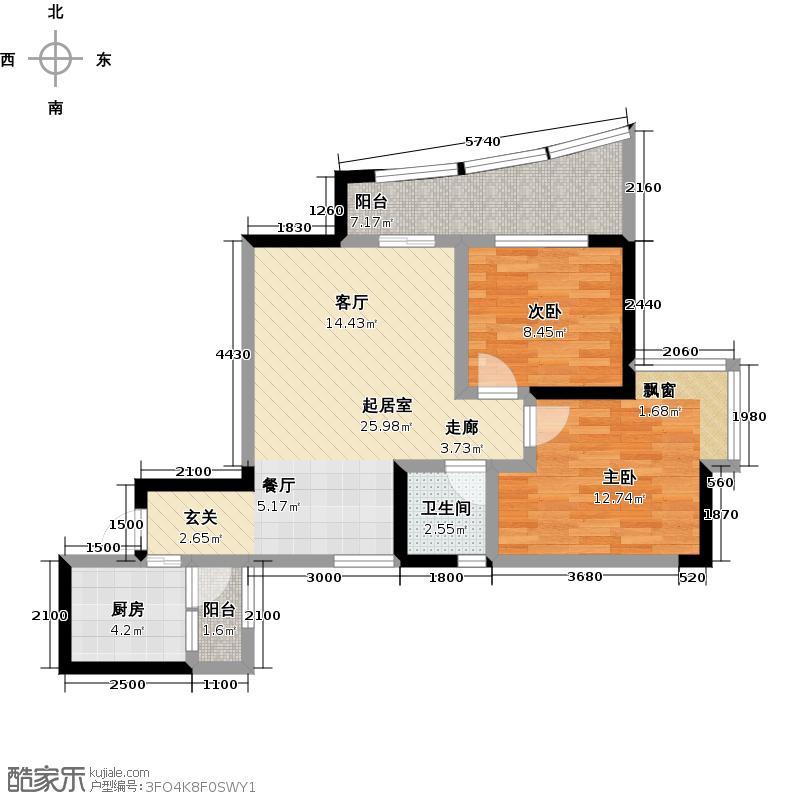 秋实・华庭紫苑64.34㎡房型: 二房; 面积段: 64.34 -69.25 平方米;户型
