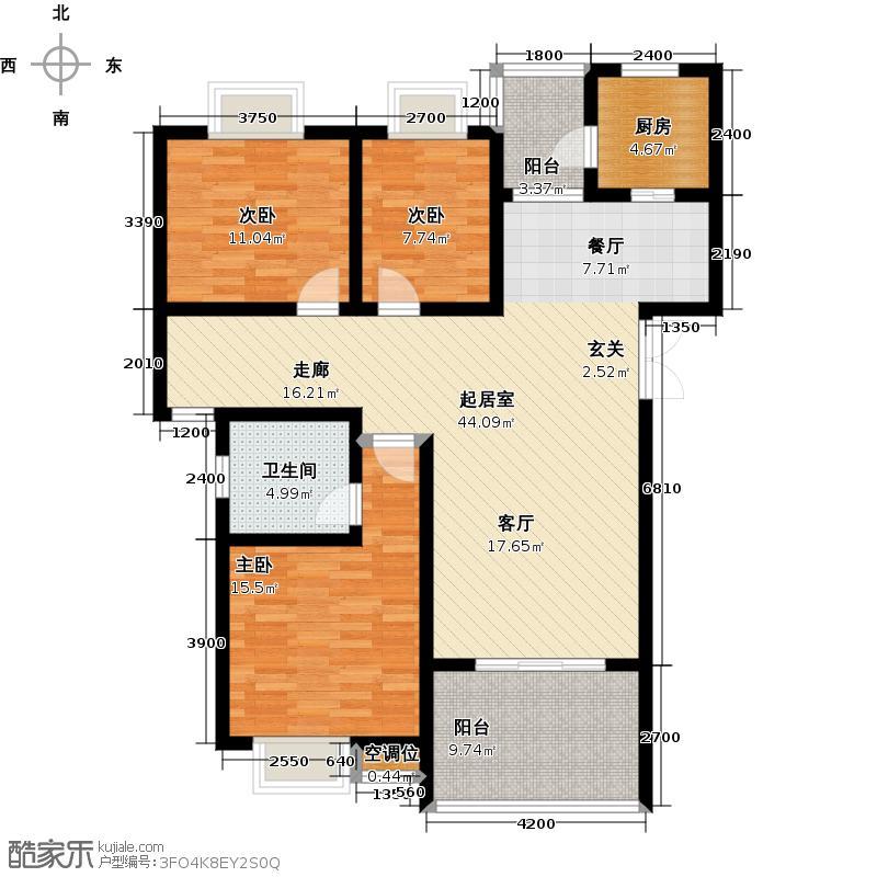 明华・龙洲半岛107.00㎡房型: 三房; 面积段: 107 -140 平方米;户型