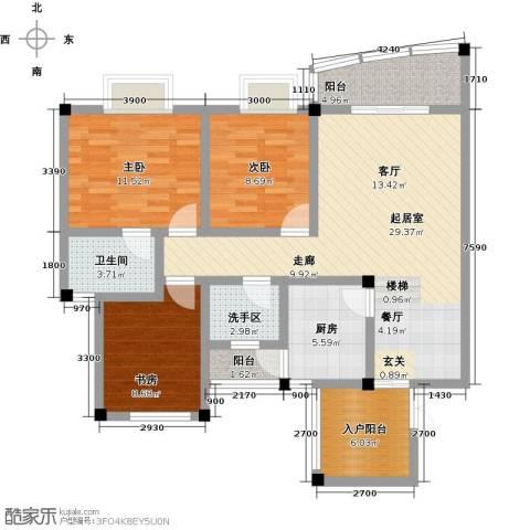 江南水乡(二期)3室0厅1卫1厨95.00㎡户型图