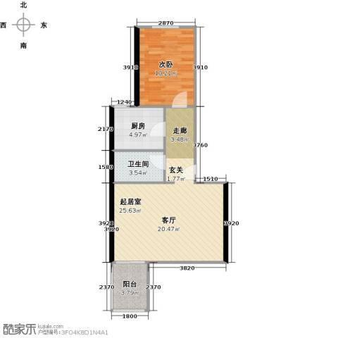 望京利泽家园1室0厅1卫1厨54.00㎡户型图