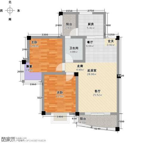 江南水乡(二期)2室0厅1卫1厨71.00㎡户型图