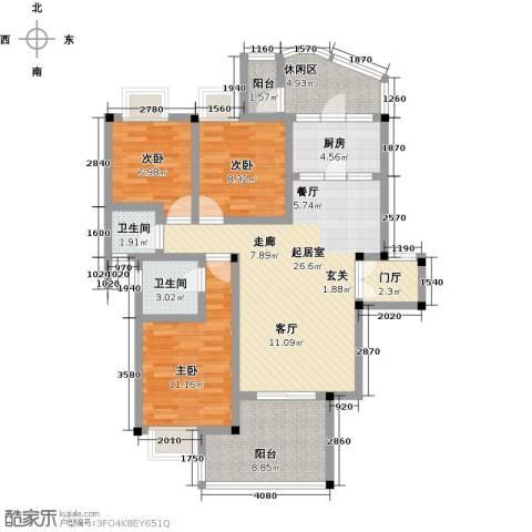 江南水乡(二期)3室0厅2卫1厨95.00㎡户型图