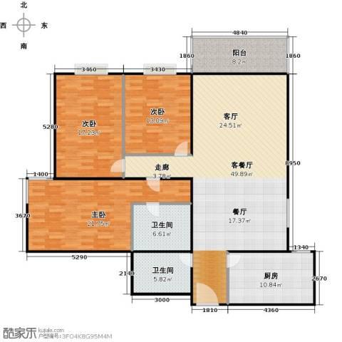 新华经典丽园3室1厅2卫1厨142.00㎡户型图
