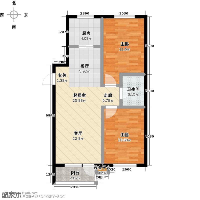 西山阳光水岸一期78.35㎡二室二厅一卫户型
