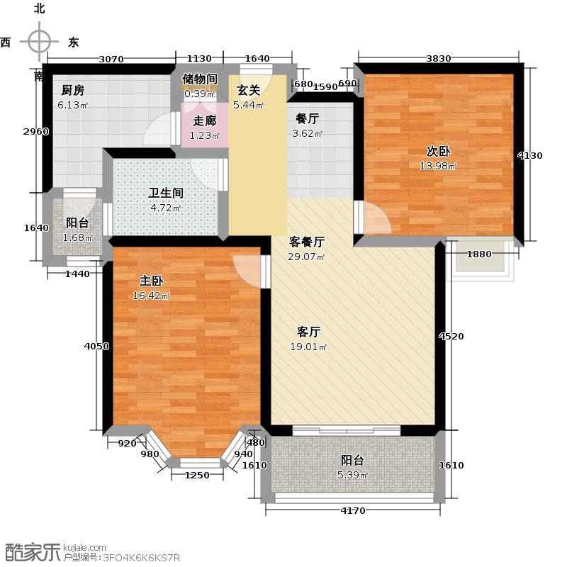 绿地崴廉宫爵二房一厅一卫,面积与90平方米户型