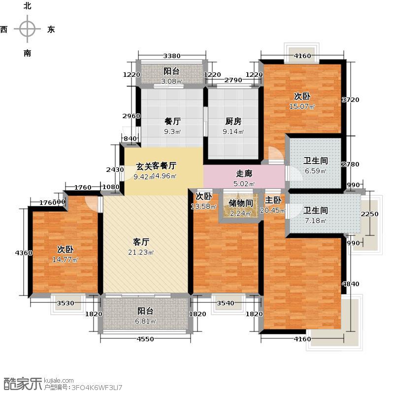 绿地崴廉宫爵四房二厅二卫,面积约165平方米户型
