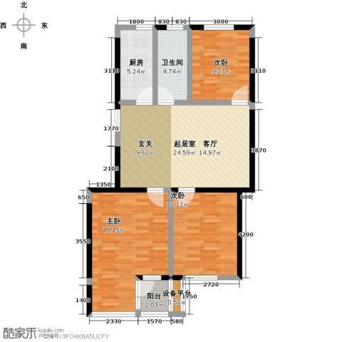 美域盛景二期3室0厅1卫1厨110.00㎡户型图