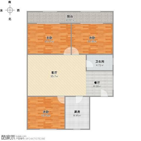 新浦江城别墅3室1厅1卫1厨137.00㎡户型图