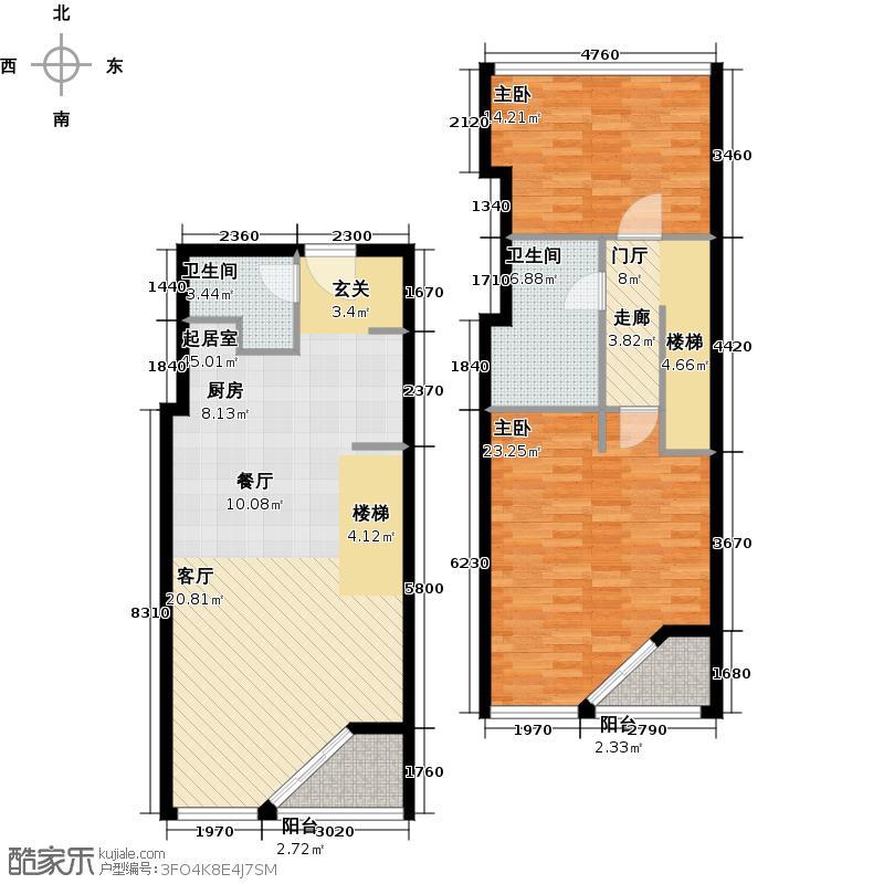 元嘉国际公寓(钛度)118.52㎡跃层两居户型