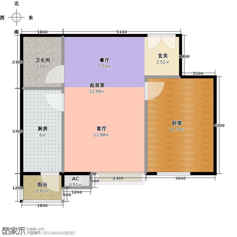 梧桐道II65.00㎡一室一厅一卫户型