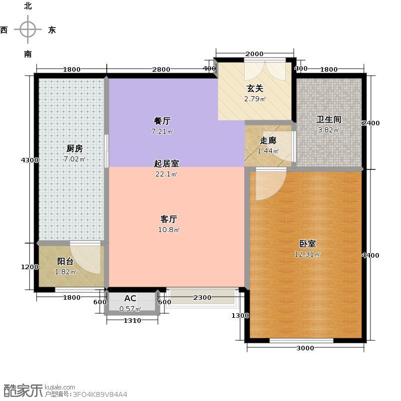 梧桐道II65.00㎡一室二厅一卫户型
