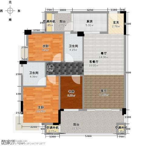 肇庆碧桂园3室1厅2卫1厨104.00㎡户型图