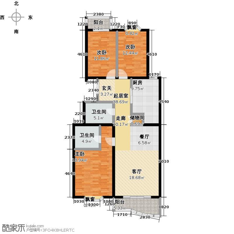 澳景花庭(畅清园二期)142.77㎡3号楼01号A'户型三室两厅两卫户型