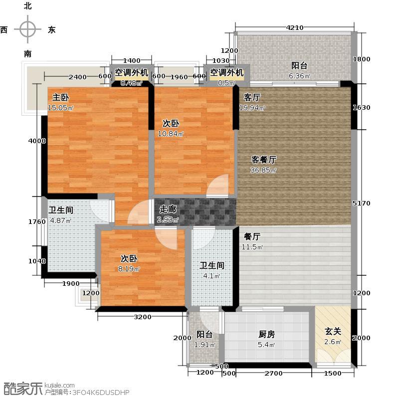 中惠璧珑湾10栋04单元户型3室1厅2卫1厨