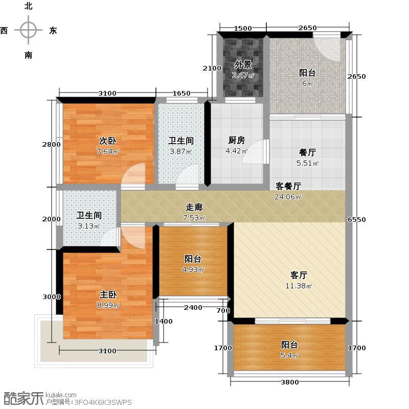 潜龙曼海宁(南区)8栋8-C3阳台户型2室1厅2卫1厨