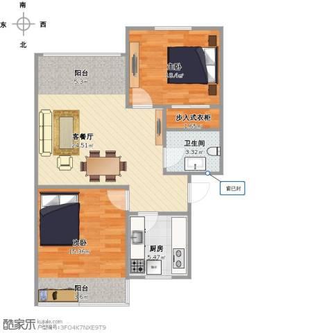 朝晖四区2室2厅1卫1厨82.00㎡户型图