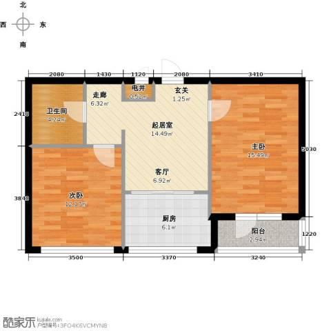 泰锋俪景城一期(地产房)2室0厅1卫1厨60.00㎡户型图
