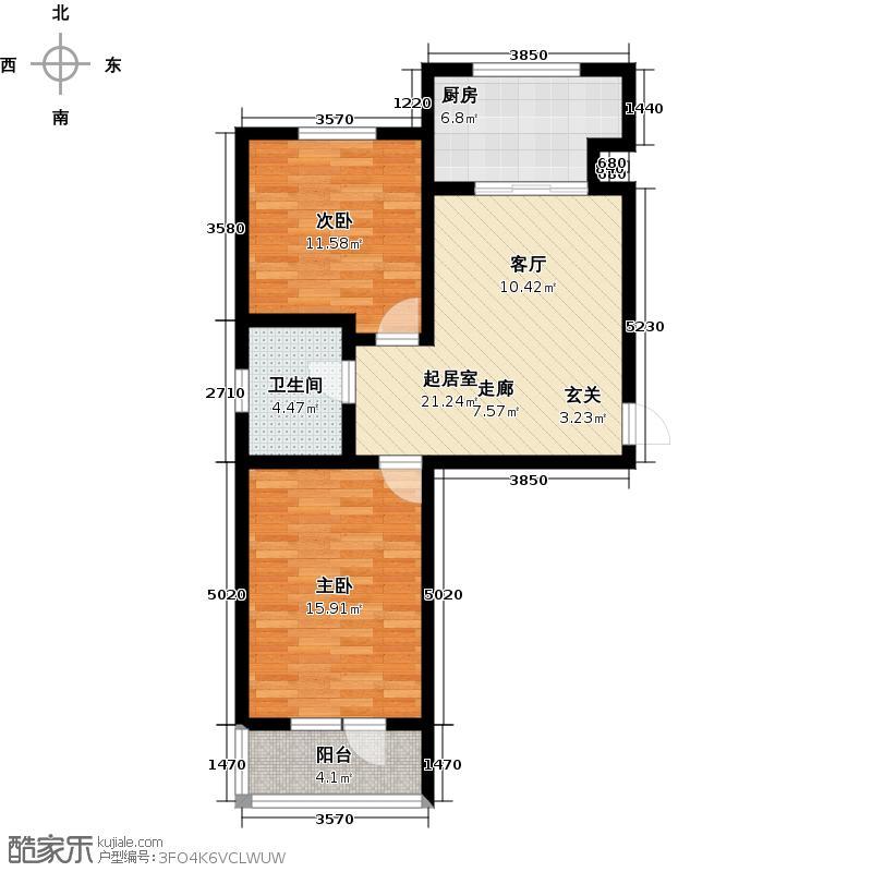 泰锋俪景城一期(地产房)60.00㎡二房一厅一卫户型