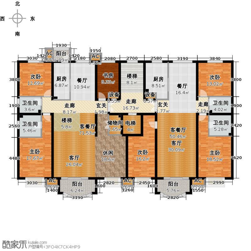 亚太国际公馆H单元6层户型