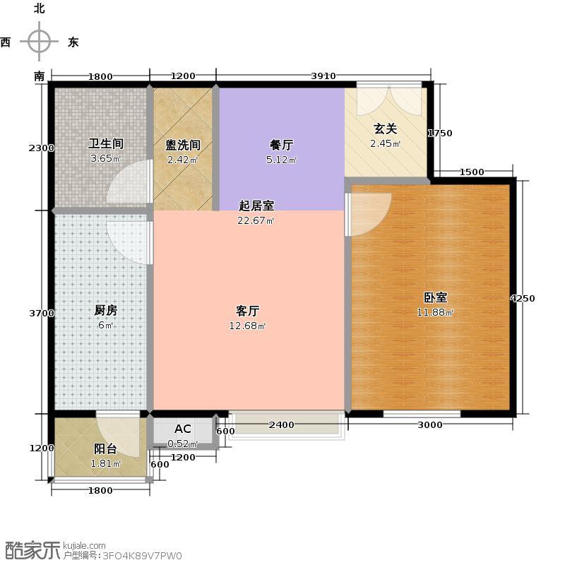 梧桐道II62.00㎡一室二厅一卫户型