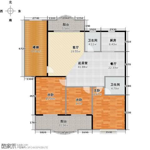 天龙花园3室0厅2卫1厨134.35㎡户型图
