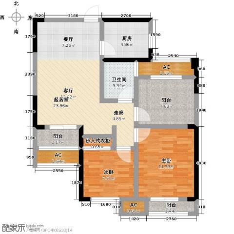 龙湖湘风星城2室0厅1卫1厨83.00㎡户型图